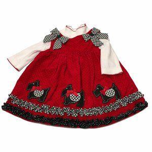 Rare Edition Red Jumper Dress Scotty Dogs Ruffles